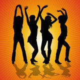 Young Woman Dancing. Four women dancing in the disco Royalty Free Stock Photos