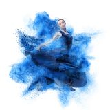 Young woman dancing flamenco against explosion. Young woman dancing flamenco with castanets against explosion isolated on white Stock Photo
