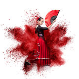 Young woman dancing flamenco against explosion. Isolated on white Royalty Free Stock Photo