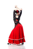 Young woman dancing flamenco from back isolated Stock Photos
