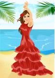 Young woman dancing flamenco on beach Royalty Free Stock Photos