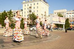 Young woman dancing flamenco in town stock images