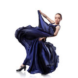 Young woman dancing flamenco on white Stock Images