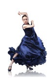 Young woman dancing flamenco on white Royalty Free Stock Photography