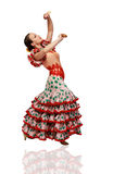 Young Woman Dancing Flamenco With Castanets Royalty Free Stock Images