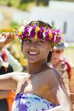 Pretty woman hula dancing on South Pacific Ocean, Aitutaki, Cook Islands Stock Photography