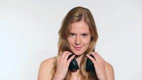 Young woman dancing stock video