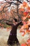 Young woman dancing ritual dance mandala Royalty Free Stock Images
