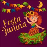 Young woman dancing salsa on festivals celebrated in Brazil Festa Junina, girl wear flower in head traditional fiesta. Dance, holiday party dancer, festive Royalty Free Stock Photography