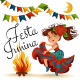 Young woman dancing salsa on festivals celebrated in Brazil Festa Junina, girl wear flower in head traditional fiesta. Dance, holiday party dancer, festive Royalty Free Stock Images