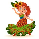 Young woman dancing salsa on festivals celebrated in Brazil Festa Junina, girl wear flower in head traditional fiesta. Dance, holiday party dancer, festive Royalty Free Stock Image