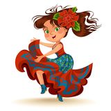 Young woman dancing salsa on festivals celebrated in Brazil Festa Junina, girl wear flower in head traditional fiesta. Dance, holiday party dancer, festive Royalty Free Stock Photos