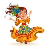 Young woman dancing salsa on festivals celebrated in Brazil Festa Junina, girl wear flower in head traditional fiesta. Dance, holiday party dancer, festive Royalty Free Stock Photo