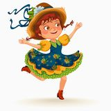 Young woman dancing salsa on festivals celebrated in Portugal Festa de Sao Joao, girl in straw hat traditional fiesta. Dance, holiday party dancer, festive Royalty Free Stock Photo