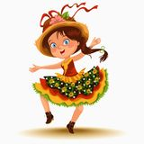 Young woman dancing salsa on festivals celebrated in Portugal Festa de Sao Joao, girl in straw hat traditional fiesta. Dance, holiday party dancer, festive Stock Images