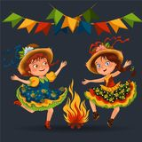 Young woman dancing salsa on festivals celebrated in Portugal Festa de Sao Joao, girl in straw hat traditional fiesta. Dance, holiday party dancer, festive Stock Image