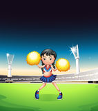 A young woman dancing at the soccer field. Illustration of a young woman dancing at the soccer field Stock Photography