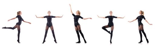 The young woman dancing on white background Royalty Free Stock Photography