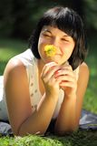 Young woman with dandelion Royalty Free Stock Image