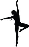 Young woman danding. A silhouette of a young woman dancing Royalty Free Stock Image
