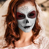 Young woman in day of the dead mask. Beautiful bride in day of the dead mask skull face art royalty free stock photos