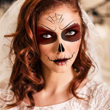 Young woman in day of the dead mask. Beautiful in day of the dead mask skull face art stock photo