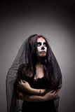 Young woman in day of the dead mask skull face art Stock Photos