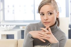 Young woman daydreaming at home Royalty Free Stock Photo