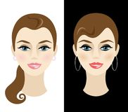 Young woman with daytime and nighttime makeup. Vector illustration Royalty Free Stock Photos