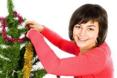 Young woman decorating Stock Photo