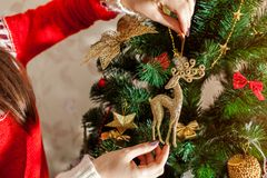 Young woman decorating Christmas tree at home, wearing winter sweater. Preparing to New year. Closeup of reindeer. Young woman decorating Christmas tree with stock photos