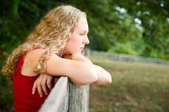 Young woman deep in thought. Royalty Free Stock Images