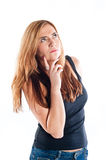 Young woman deep in thought Royalty Free Stock Photography