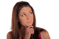 Young woman deliberates a decision Stock Photo