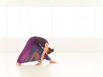 Young woman demonstrating begginer yoga pose Royalty Free Stock Photography