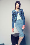 Young woman in denim clothes Stock Images