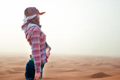 Young woman in the desert. United Arab Emirates Royalty Free Stock Photography
