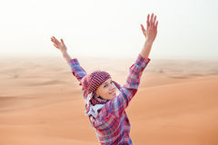 Young woman in the desert. United Arab Emirates Stock Photography