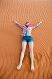 Young woman in the desert Royalty Free Stock Photo