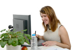Young woman designer using graphics tablet Royalty Free Stock Photo