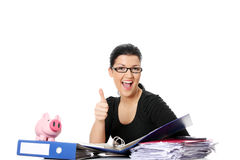 Young woman at the desk Royalty Free Stock Photos