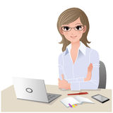 Young woman at desk with copy space. stock illustration