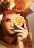 Young woman with dessert Royalty Free Stock Photography