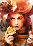 Young woman with dessert Royalty Free Stock Image