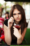 Young woman eating a dessert Royalty Free Stock Photo