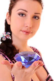 Young  woman with  diamond Stock Photography