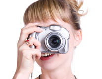 Young woman with digital camera Stock Photography