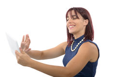 Young woman with a digital tablet Stock Image