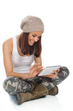 Young woman and digital tablet Stock Photos