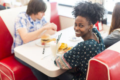 Young woman in the diner Stock Photo